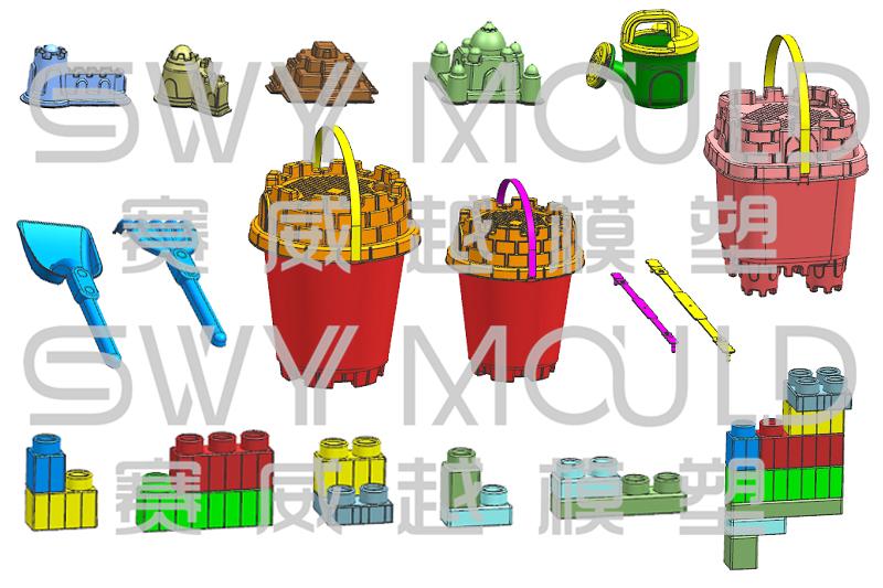 Un conjunto de moldes de juguete para niños Proceso de diseño de acabado
