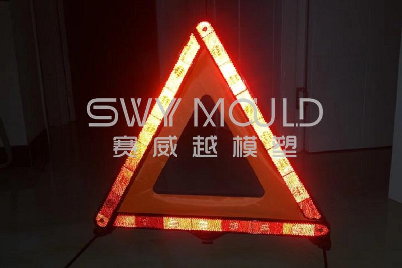 Molde de plástico para triángulo de advertencia reflectante de seguridad vial